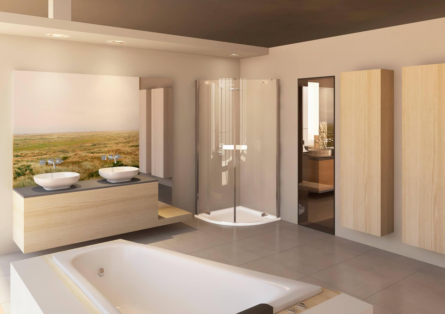 Badezimmer - Showroom | Visualisierung chora blau