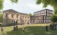 """"""" Das Ortwin Goldbeck Forum ist der Name des gesamten Gebäudeensembles und meint zudem explizit den künftig zu erstellenden Neubau als Anbau an die historische Substanz. """""""