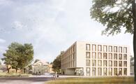 chora blau visualisierung-Erweiterungsbau des Rathauses in Springe-pape + pape architekten